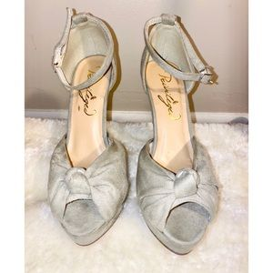 Privileged Gray Open Toe Suede Pumps Size 7